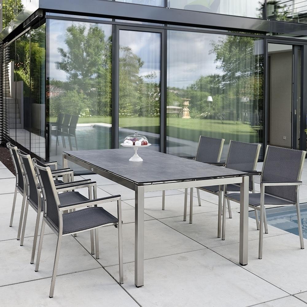 Stern Gartenmöbel Set bestehend aus 6x Stapelsessel Polaris, 1x Edelstahlgestell 200x100 cm und ...